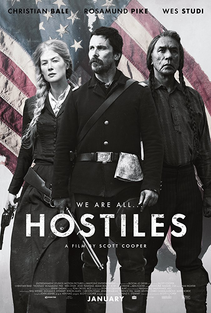 Hostiles (2017) - Directed by: Scott CooperStarring: Christian Bale, Rosamund Pike, Wes Studi, Jesse PlemonsRated: R for Strong Violence, and LanguageRunning Time: 2 h 14 mTMM Score: 4 stars out of 5STRENGTHS: Acting, Directing, CinematographyWEAKNESSES: Well Worn Themes