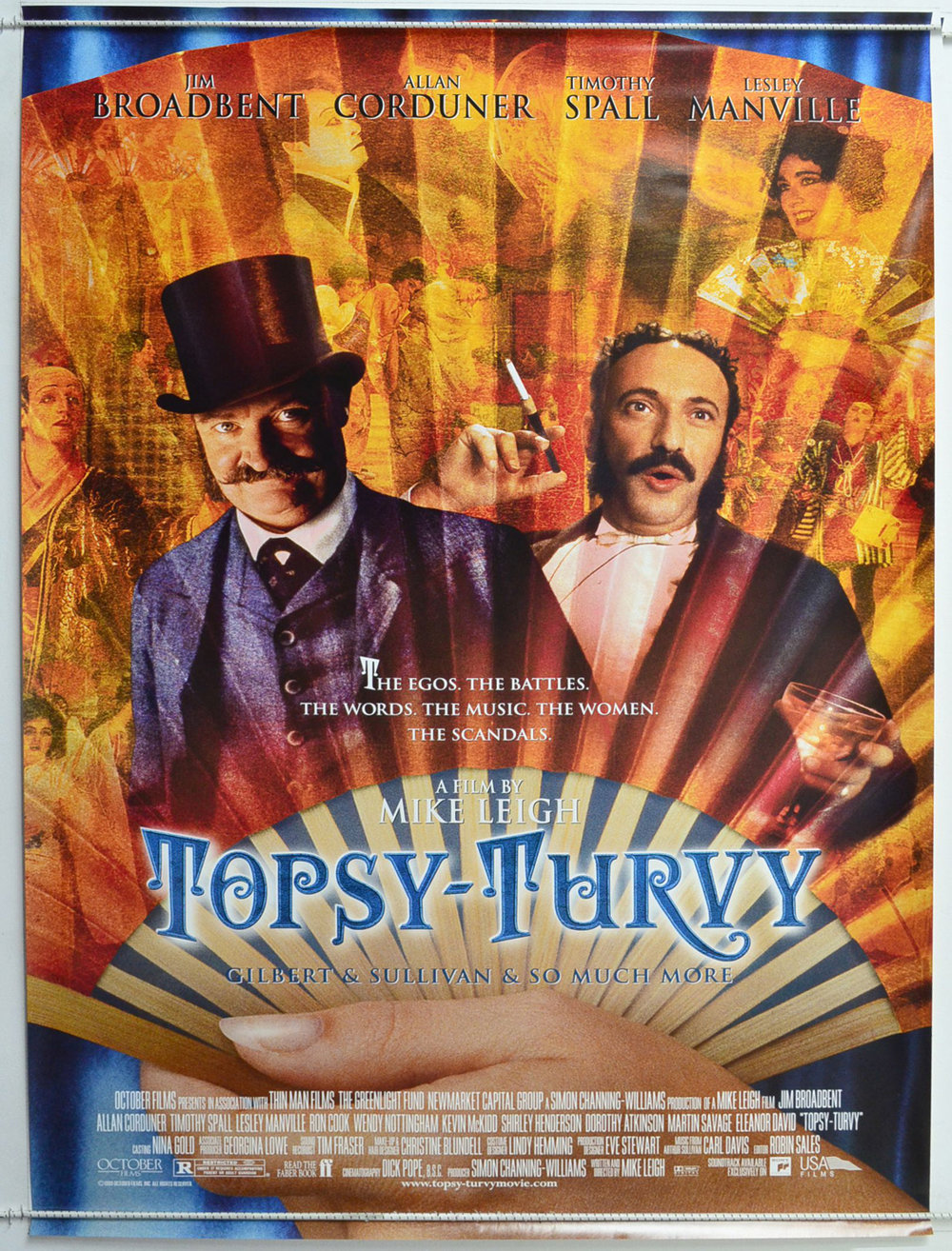 Topsy-Turvy (1999) - Directed by: Mike LeighStarring: Jim Broadbent, Allan Corduner, Timothy Spall, Lesley MansvilleRated: R for a Scene of Risque NudityRunning Time: 2 h 34 mTMM Score: 4.5 stars out of 5STRENGTHS: Mise-En-Scene, Direction, Acting, Production Design, CharactersWEAKNESSES: Length, Cultural Appropriation (?)