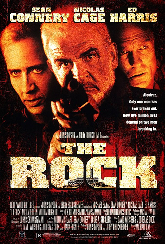 The Rock (1996) - Directed by: Michael BayStarring: Sean Connery, Nicolas Cage, Ed HarrisRated: R for Strong Violence, Language and a Sex SceneRunning Time: 2 h 16 mTMM Score: 3 stars out of 5STRENGTHS: Acting, No Holds Barred Action, Ridiculous Premise, Humorous WritingWEAKNESSES: Ridiculous Premise, Directing
