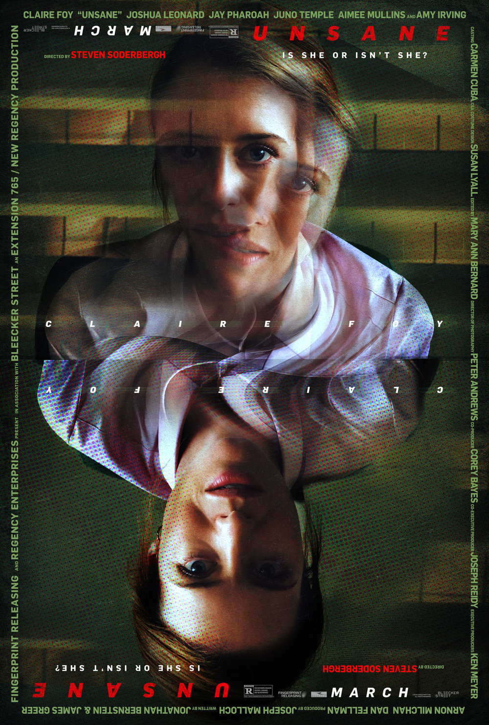 Unsane (2018) - Directed by: Steven SoderberghStarring: Claire Foy, Joshua Leonard, Jay PharoahRated: R for Disturbing Behavior, Violence, Language, and Sex ReferencesRunning Time: 1 h 38 mTMM Score: 2.5 stars out of 5STRENGTHS: Writing, ActingWEAKNESSES: Distractingly Bad Cinematography, Pacing