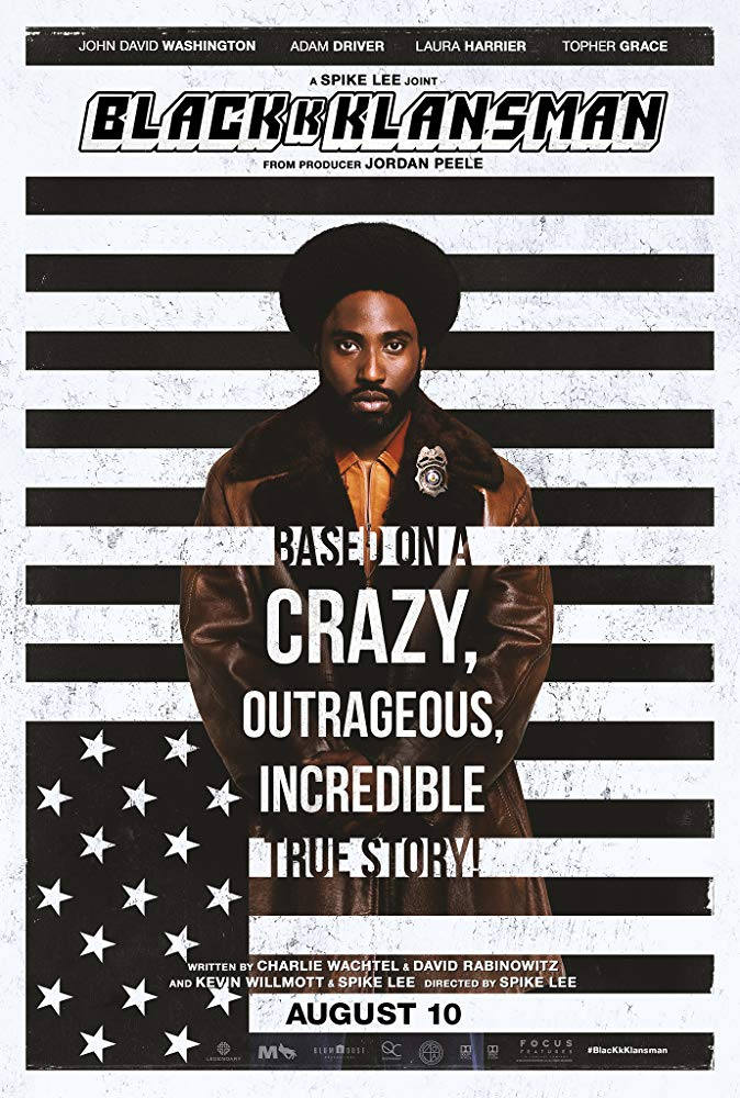 BlacKkKlansman (2018) - Directed by: Spike LeeStarring:John David Washington, Adam Driver, Topher Grace, Laura Harrier Rated:: R for Language Throughout, Including Racial Epithets, and for Disturbing/Violent Material and Some Sexual ReferencesRunning Time: 2 h 15 mTMM Score: 3.5 stars out of 5STRENGTHS: Writing, ActingWEAKNESSES: Pacing, Directing, Heavy-Handedness