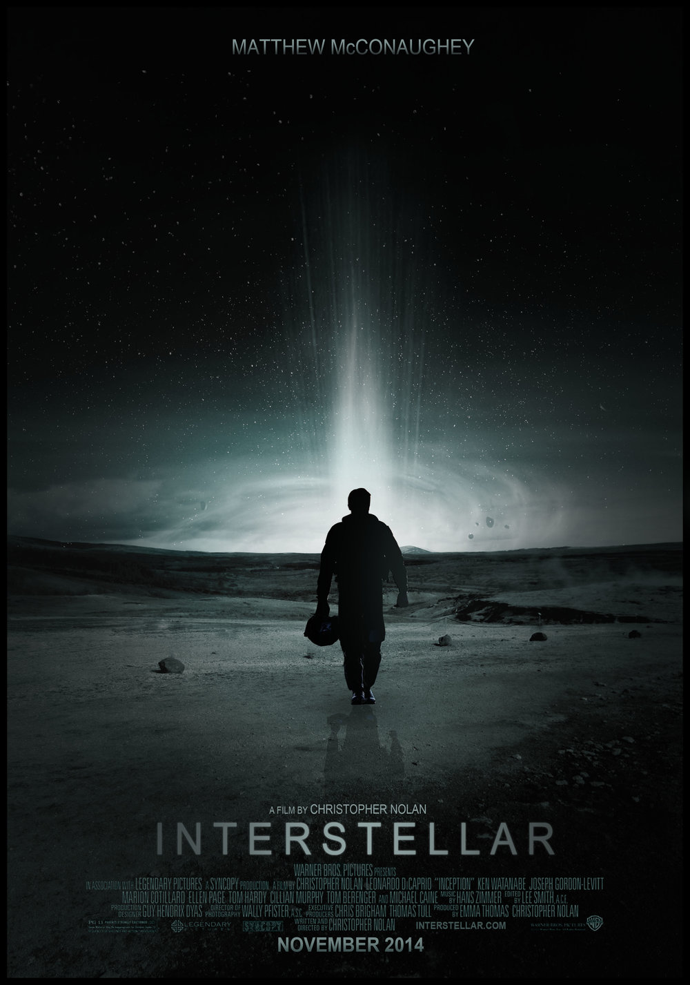 Interstellar (2014) - Directed by: Christopher NolanStarring: Matthew McConaughey, Anne Hathaway, Jessica Chastain, John Lithgow, Timothee Chalamet, David Oyelowo, Wes Bently, Michael Caine, Casey Affleck, Matt Damon, Topher Grace, Mackenzie FoyRated: PG-13 for Some Intense Perilous Action and Brief Strong LanguageRunning Time: 2 h 49 mTMM Score: 4 stars out of 5STRENGTHS: Directing, Writing, Soundtrack, Cinematography, Acting, Visual EffectsWEAKNESSES: Cheesy Climax