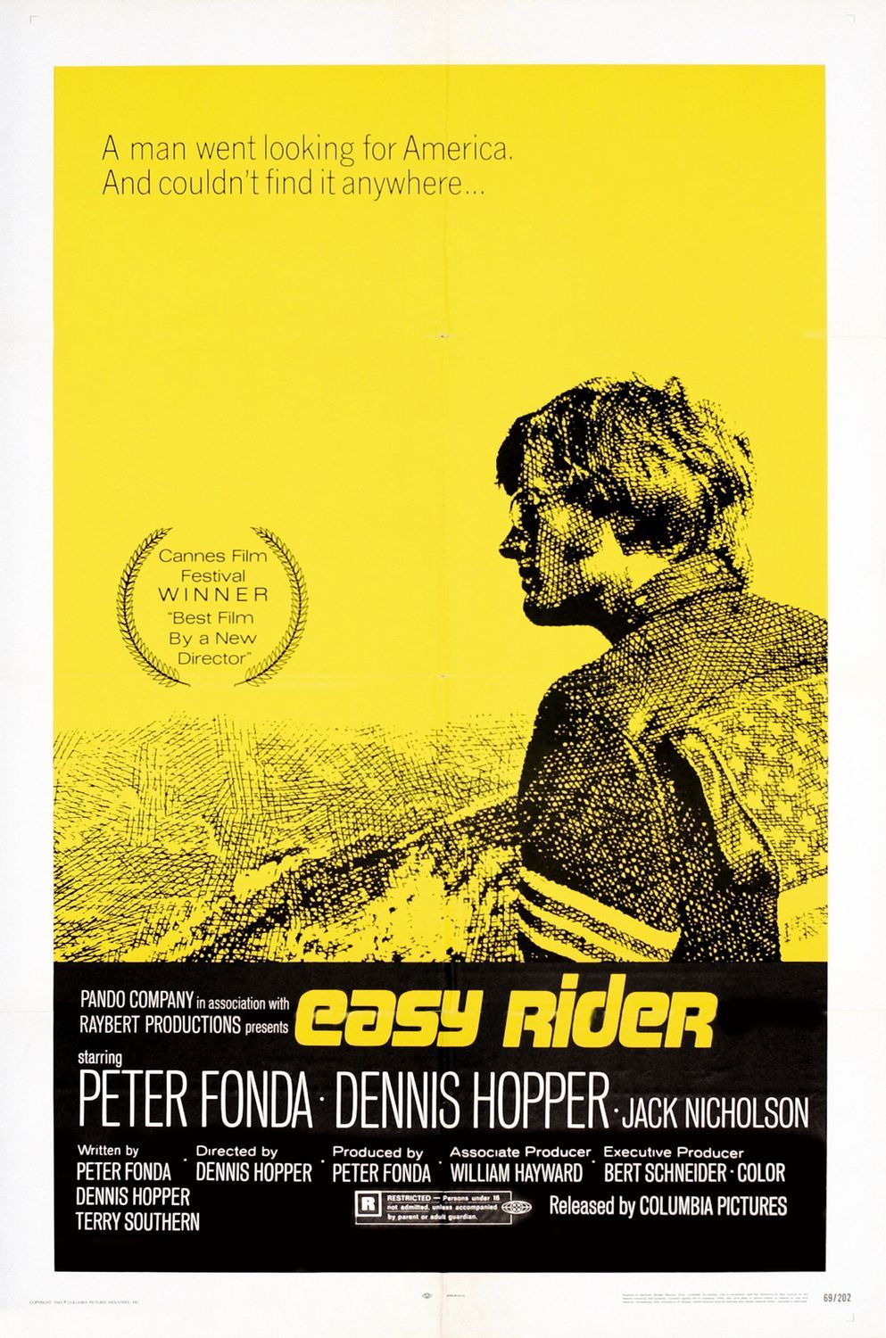 Easy Rider (1969) - Directed by: Dennis HopperStarring: Peter Fonda, Dennis Hopper, Jack NicholsonRated: RRunning Time: 1h 35mTMM Score: 4 stars out of 5STRENGTHS: Authenticity, IntamacyWEAKNESSES: Slow Pacing