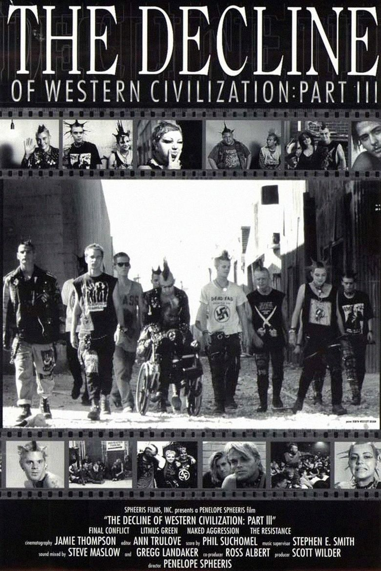 The Decline of Western Civilization Part III (1998) - Directed by: Penelope SpheerisStarring: FleaRated: NR (Suggested R for Pervasive Language and Destructive Behavior)Running Time: 1 h 26 mTMM Score: 4 stars out of 5STRENGTHS: StoryWEAKNESSES: Content