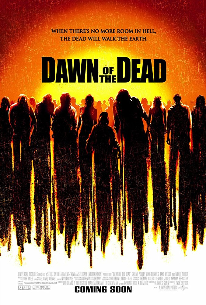 Dawn of the Dead (2004) - Directed by: Zack SnyderStarring: Sarah Polley, Ving Rhames, Mekhi Phifer, Ty BurrellRated: R for Pervasive Strong Horror Violence and Gore, Language and SexualityRunning Time: 1 h 50 mTMM Score: 3 stars out of 5STRENGTHS: Practical Effects, Zombie StuffWEAKNESSES: Anytime the Characters Talk