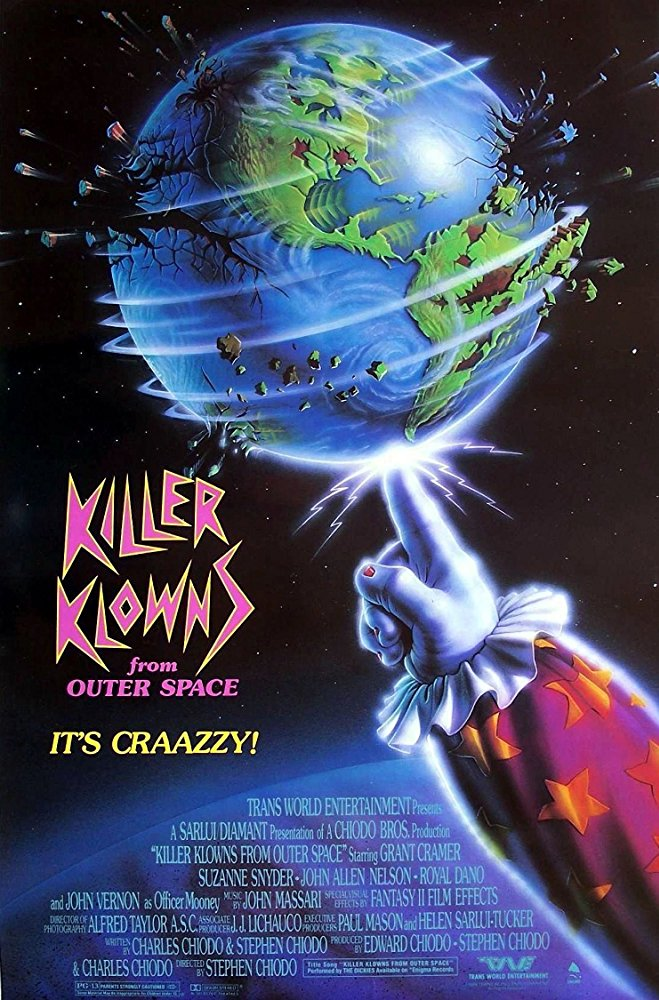 Killer Klowns from Outer Space (1988) - Directed by: Stephen ChiodoStarring: Grant Cramer, Suzanne Snyder, John Allen NelsonRated: PG-13Running Time: 1 h 28 mTMM Score: 3 stars out of 5STRENGTHS: Effects, Creature and Production Design, Comedy, OriginalityWEAKNESSES: Tone (?), Some Jokes Didn't Land (?)