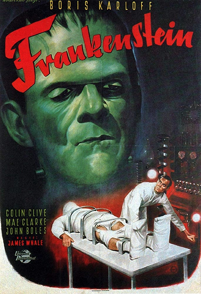 Frankenstein (1931) - Directed by: James WhaleStarring: Colin Clive, Boris Karloff, Mae Clarke, Edward Van Sloan, Dwight FryeRated: NR (Suggested PG for Some Disturbing Content and Violence)Running Time: 1 h 10 mTMM Score: 4 stars out of 5STRENGTHS: Story, Writing, Effects, Directing, SetsWEAKNESSES: Pacing