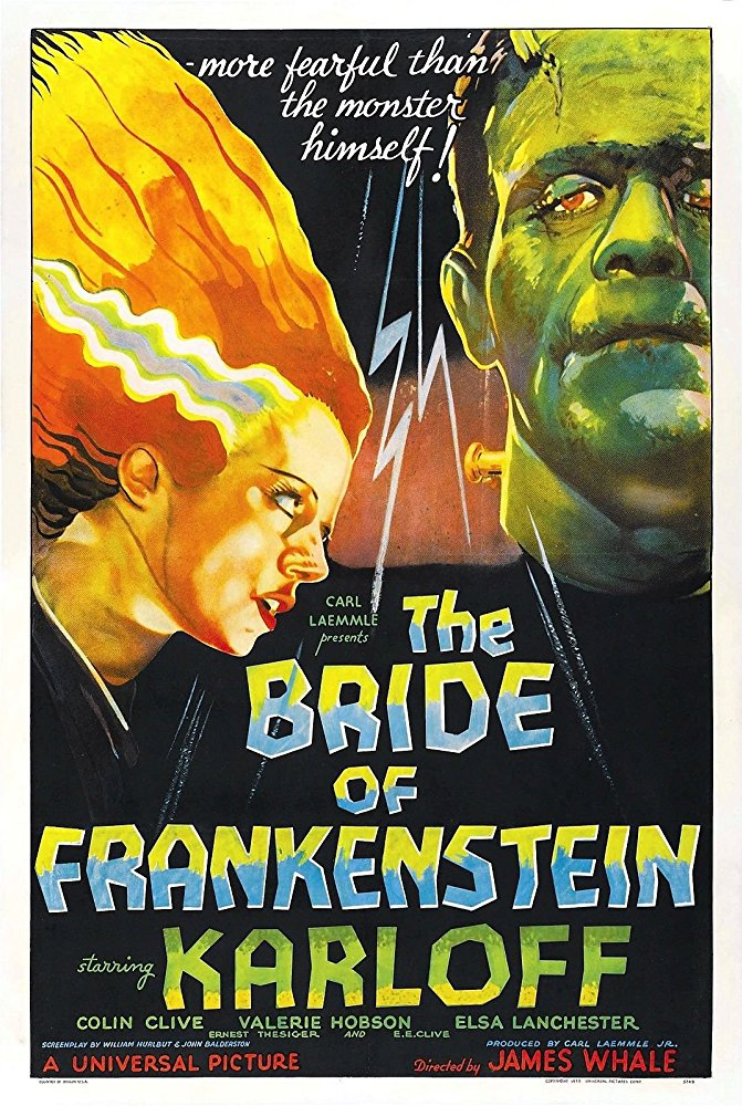 The Bride of Frankenstein (1935) - Directed by: James WhaleStarring: Boris Karloff, Colin Clive, Elsa Lanchester, Ernest ThesigerRated: NR (Suggested PG for Violence and Some Scary Imagery)Running Time: 1 h 15 mTMM Score: 5 stars out of 5STRENGTHS: Characters, Story Structure, Moral Dilemmas, Effects, Technically Superior to Original, Acting, PacingWEAKNESSES: -