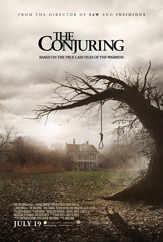 The Conjuring (2013) - Directed by: James WanStarring: Patrick Wilson, Vera Farminga, Ron Livingston, Lili Taylor, Joey King, Mackenzie FoyRated: R for Sequences of Disturbing Violence and TerrorRunning Time: 1 h 52 mTMM Score: 4 stars out of 5STRENGTHS: Good Blend of Atmospheric and Jump Scares, Characters, ThemesWEAKNESSES: Corny Dialogue and Climax, Some Tropes