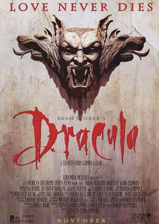 Bram Stoker's Dracula (1992) - Directed by: Francis Ford CoppolaStarring: Gary Oldman, Winona Ryder, Anthony Hopkins, Keanu Reeves, Richard E Grant, Cary Elwes, Tom WaitsRated: R for Sexuality and Horror ViolenceRunning Time: 2 h 8 mTMM Score: 2.5 stars out of 5STRENGTHS: Production Design, Gary Oldman, Takes ChancesWEAKNESSES: Chances Don't Always Pay Off, Some Writing, Some Directorial Choices