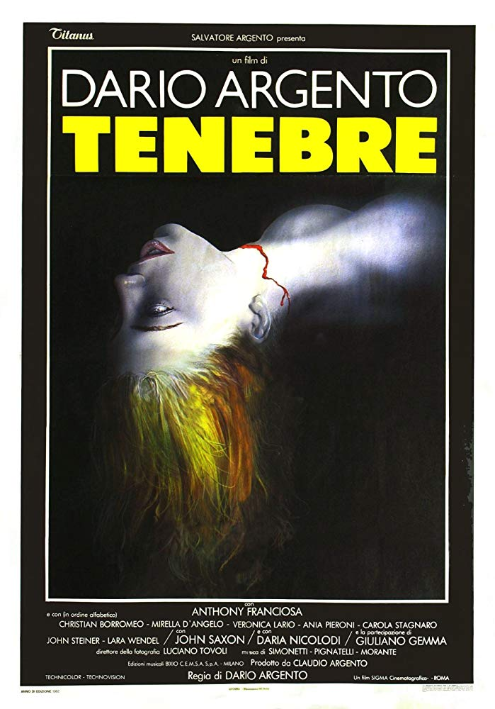 Tenebre (1982) - Directed by: Dario ArgentoStarring: Anthony Franciosa, Daria Nicolodi, Giuliano GemmaRated: RRunning Time: 1 h 40 mTMM Score: 4.5 stars out of 5STRENGTHS: Writing, Directing, Soundtrack, Giallo Goodness, Meta CommentaryWEAKNESSES: It's Not for Everyone