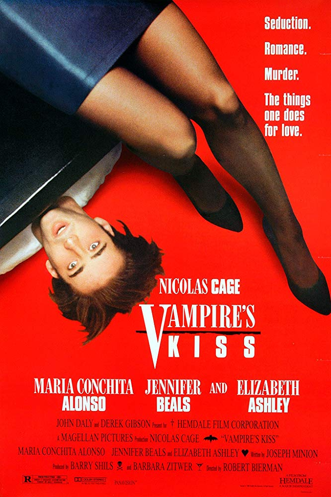 Vampire's Kiss (1988) - Directed by: Robert BiermanStarring: Nicolas Cage, Maria Conchita Alonso, Jennifer Beals, Elizabeth AshleyRated: RRunning Time: 1 h 43 mTMM Score: 3 stars out of 5STRENGTHS: Unique ActingWEAKNESSES: Story, Characters
