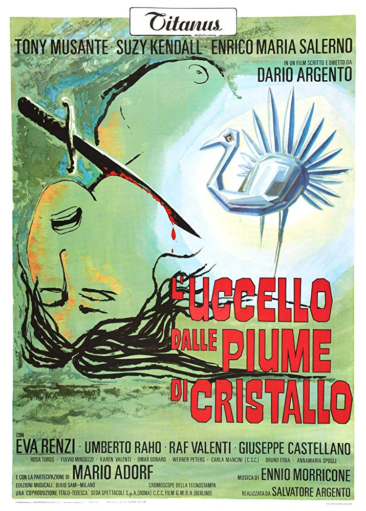 The Bird with the Crystal Plumage (1970) - Directed by: Dario ArgentoStarring: Tony Musante, Suzy Kendall, Enrico Maria Salerno, Eva Renzi, Umberto RahoRated: NR (Suggested R for Several Depictions of Murder)Running Time: 1 h 36 mTMM Score: 4 stars out of 5STRENGTHS: Characters, Story, Cinematography, Writing, DirectingWEAKNESSES: Pacing, Expositional Ending
