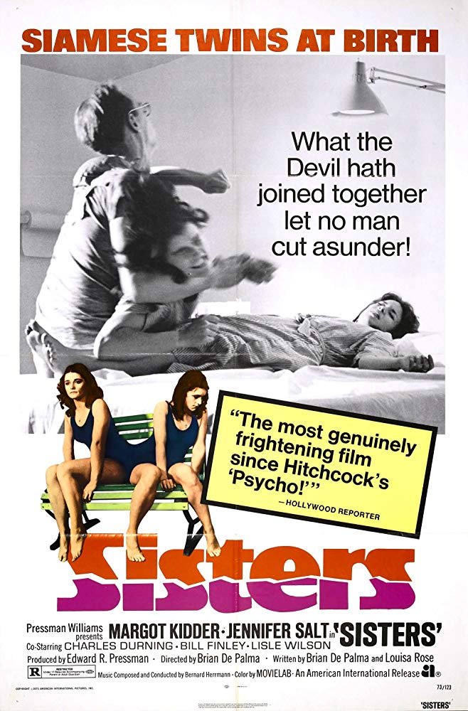 Sisters (1972) - Directed by: Brian De PalmaStarring: Margot Kidder, Jennifer Salt, Charles During, Williwam Finley, Lisle WilsonRated: RRunning Time: 1 h 33 mTMM Score: 4 stars out of 5STRENGTHS: Directing, Acting, WritingWEAKNESSES: Dated Views on People with Abnormalities