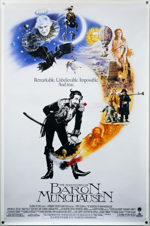 The Adventures of Baron Munchausen (1988) - Directed by: Terry GilliamStarring: John Neville, Eric Idle, Sarah Polley, Robin Williams, Uma ThurmanRated: PGRunning Time: 2h 6mTMM Score: 4 Stars (Really Liked It)STRENGTHS: Creativity, Fantasy, PerformancesWEAKNESSES: Uneven, Slow in Spots