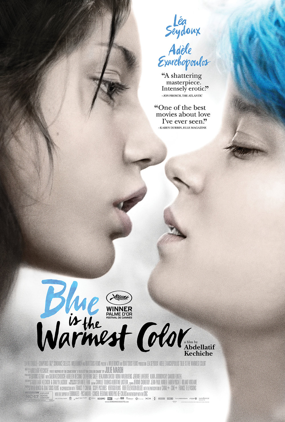 Blue is the Warmest Color (2013) - Directed by: Abellatif KechicheStarring: Adele Exarchopoulos, Lea Seydoux, Salim KechioucheRated: NC-17 for Explicit Sexual ContentRunning Time: 3 hTMM Score: 5 stars out of 5STRENGTHS: Writing, Directing, Story, ActingWEAKNESSES: -