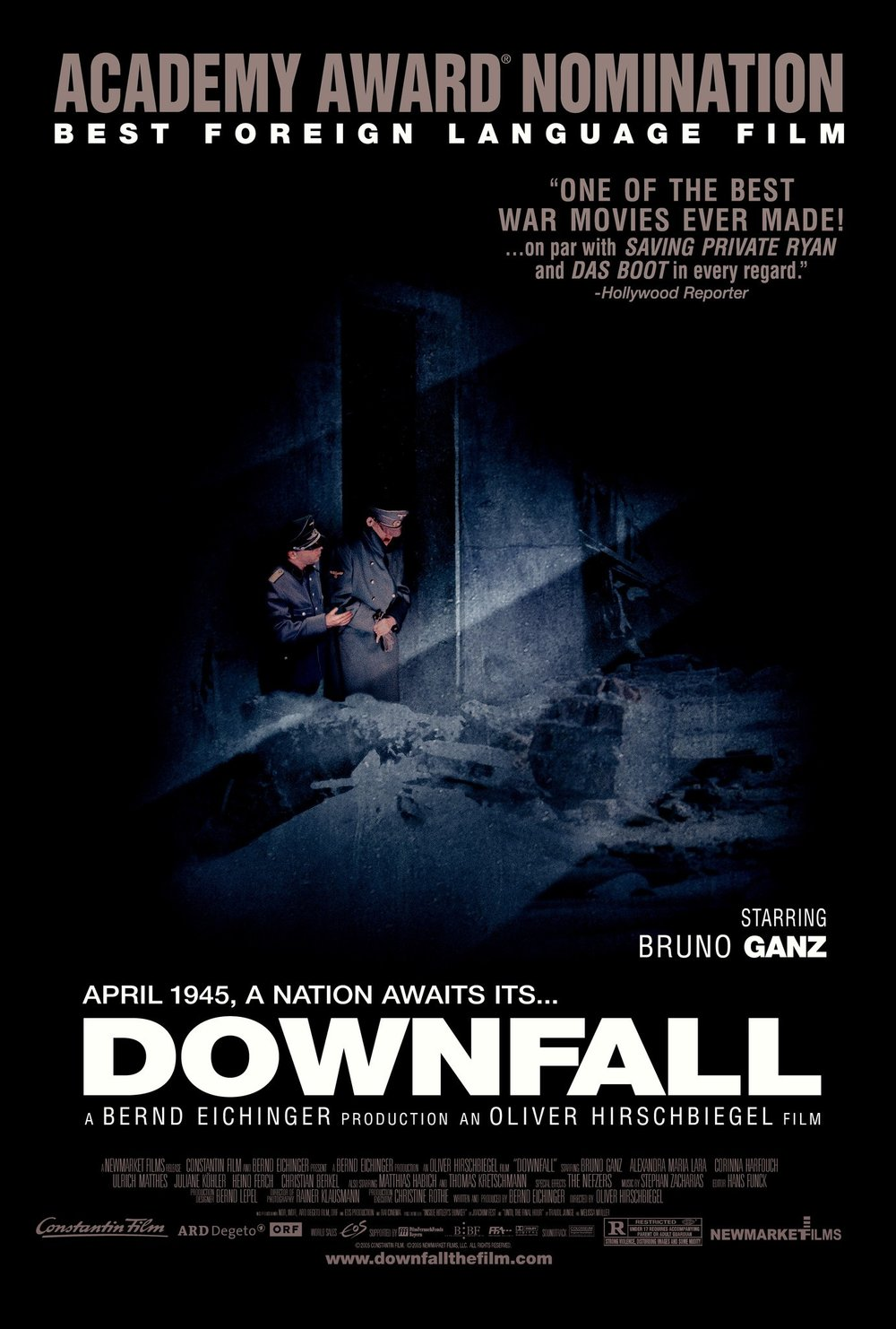 Downfall (2004) - Directed by: Oliver HirschbiegelStarring: Bruno Ganz, Alexandra Maria Lara, Juliane Kohler, Thomas KretchschmannRated: R for Strong Violence, Disturbing Images, and Some NudityRunning Time: 2 h 36 mTMM Score: 5 stars out of 5STRENGTHS: Acting, Directing, Writing, PerspectiveWEAKNESSES: -