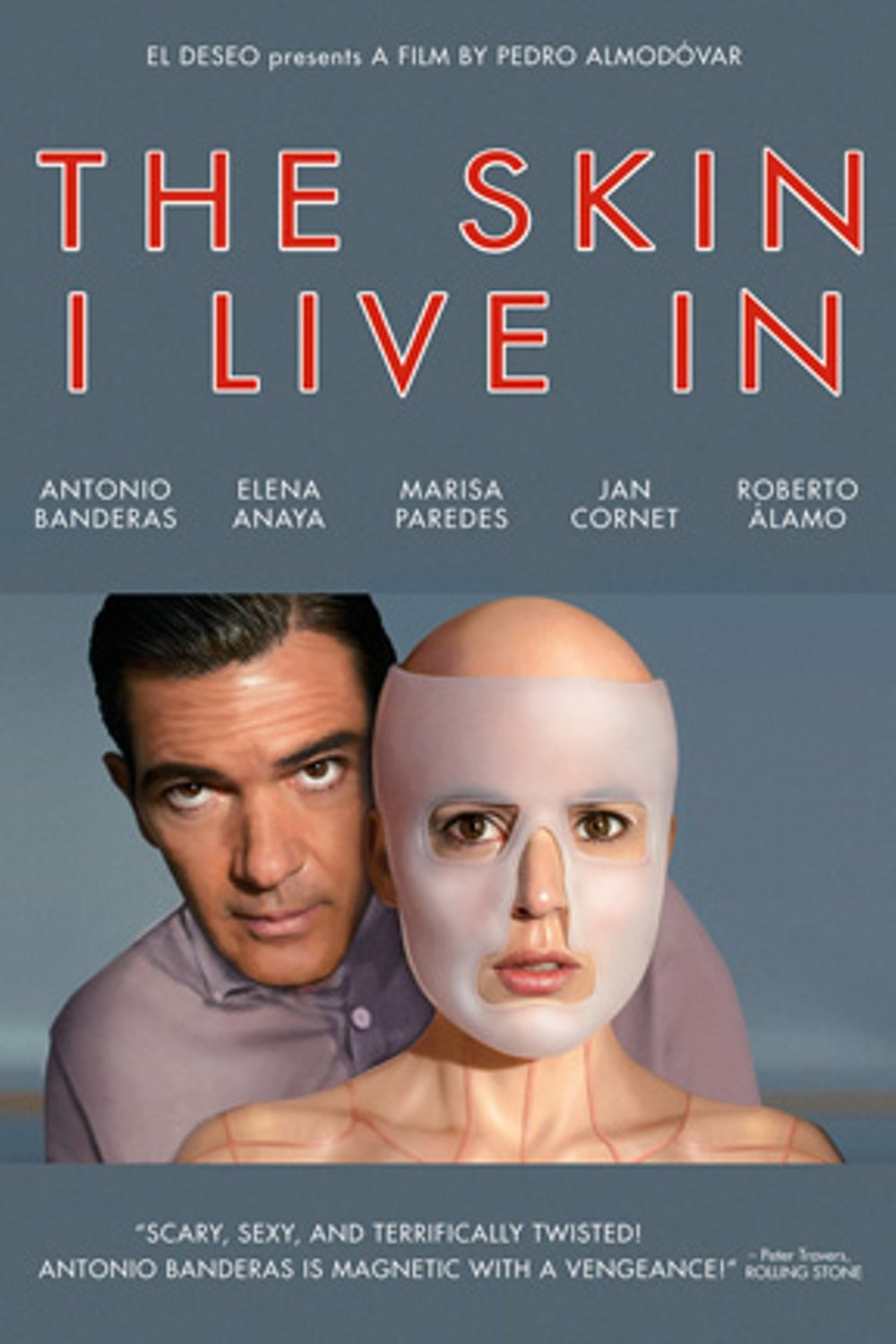 The Skin I Live In (2011) - Directed by: Pedro AlmodovarStarring: Antonio Banderas, Elana Anaya, Jan Cornet, Marisa ParedesRated: R for Disturbing Violent Content Including Sexual Assault, Strong Sexuality, Graphic Nudity, Drug Use and Language.Running Time: 2 hTMM Score: 3.5 stars out of 5STRENGTHS: Direction, Story Structure, Some ActingWEAKNESSES: Fails to Really Make A Connection, Rough Themes