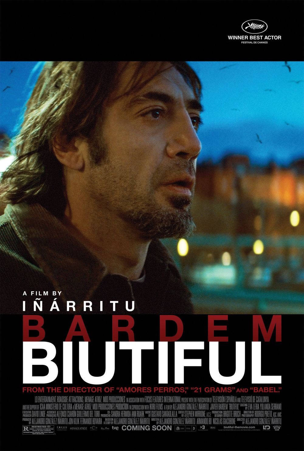 Biutiful (2010) - Directed by: Alejandro G InarrituStarring: Javier Bardem, Marcicel Alvarez, Hanaa BouchaibRated: R for Disturbing Images, Language, Some Sexual Content, Nudity and Drug UseRunning Time: 2 h 28 mTMM Score: 3.5 stars out of 5STRENGTHS: Acting, Directing, Story StructureWEAKNESSES: Length, Requires Patience, Disturbing Content and Themes Will Deter Some Viewers