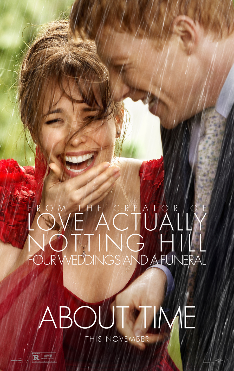 About Time (2013) - Directed by: Richard CurtisStarring: Domhnhall Gleeson, Rachel McAdams, Bill Nighy, Tom Hollander, Margot Robbie, Lindsay Duncan, Lydia WilsonRated: R for Language and Some Sexual ContentRunning Time: 2 h 3 mTMM Score: 3.5 stars out of 5STRENGTHS: Intent, Some Writing, ActingWEAKNESSES: Unacknowledged Implications and Consequences