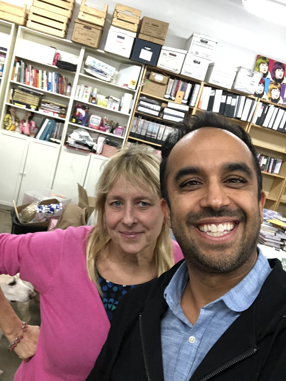 Me and Debbie in the  BUST  offices… she plucked her three books off the shelf behind us before we began!