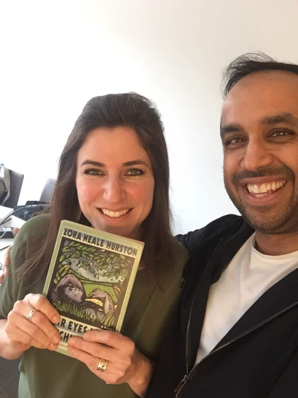 Jesse and me posing with one of her three most formative books (Spoiler alert!).