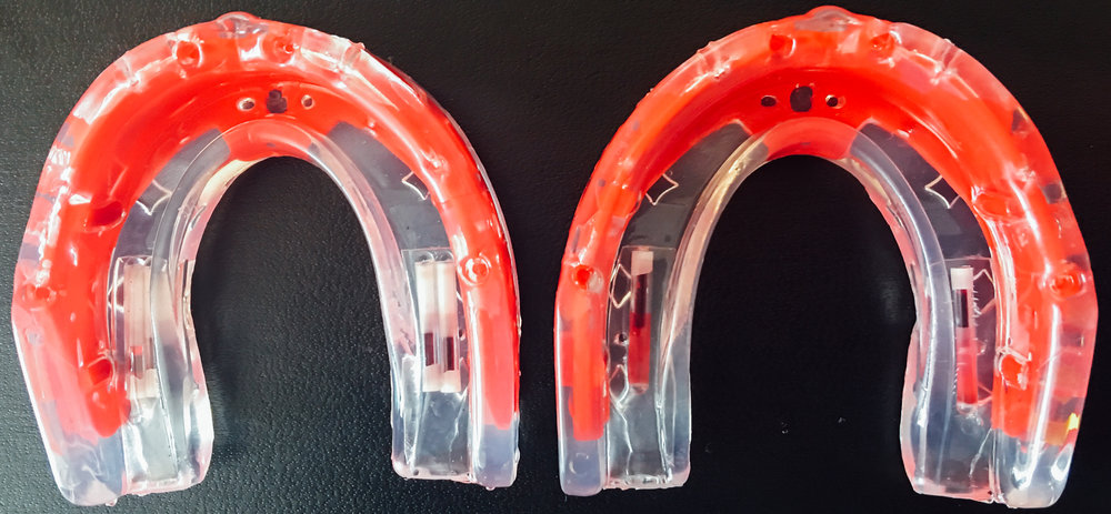 Figure 1b: Mouthguards with sensors. (75g model shown here)