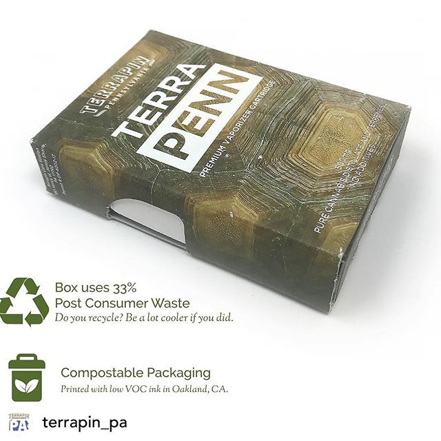 We're fortunate to build partnerships with folks like @terrapin_pa whose sustainability goals align with ours. If sustainability is one of your goals, check out our recyclable, compostable certified child resistant packaging offerings!  #cannabispackaging  #sustainablepackagingdesign  #childresistantpackaging #sungrownpackaging ........................ Posted @withrepost • @terrapin_pa Did you know our TerraPenn boxes are made from 33% post-consumer wastes? They're also recyclable, compostable and they are printed using water-based coatings and soy-based inks sourced domestically.  At Terrapin we strive to minimize our environmental footprint and we hope to serve as a positive influence on this newly forming industry.  Developing responsible green production practices in the early stages of this industry can go a long way in shaping its future.