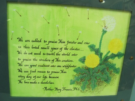 This is a great poem for cloistered nuns!