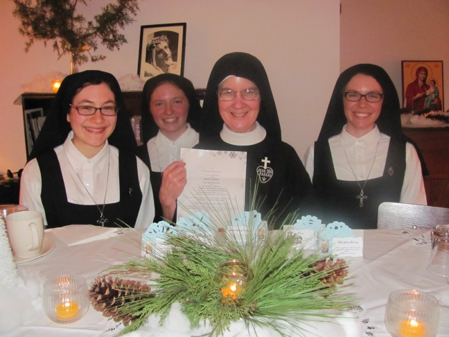 Sr. Mary Veronica thanks the Lord for three Passionist postulants.