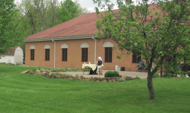 Sr. Lucia Marie knitting during her 8 day solitude retreat