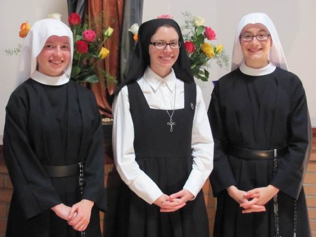 Thank God with us for a postulant and two novices!