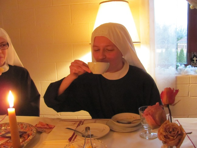 Sr. Frances Marie enjoys her hot beverage