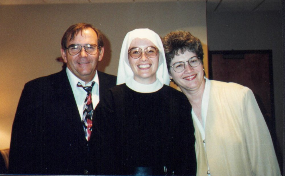 Sr. John Mary as a novice, with her parents
