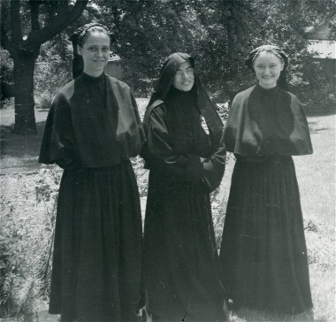 Kay as a postulant, on the right
