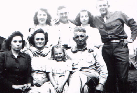 Family:  (Front l-r)  Marguerite, Frances (MaMa), Betty Jean, Frank (PaPa).   (Back l-r)  Katherine, John, Marylene and Albert (Bud).