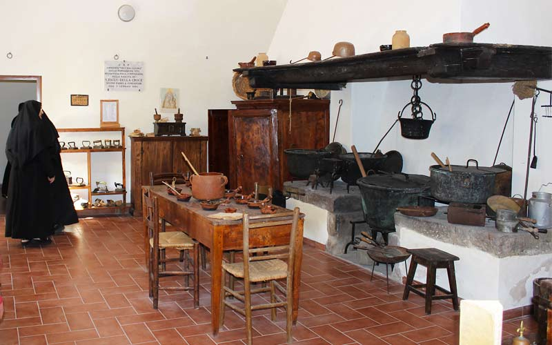 The original kitchen in the first Passionist Nuns' monastery, Tarquinia, Italy.