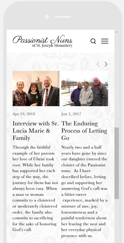 Parents & Families page on Mobile