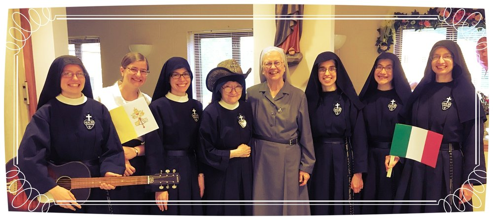 Sr. Frances Marie as Mother Catherine Marie, Theresa & Sr. Maria Faustina as the chorus, the  real  Mother Catherine Marie with Sr. Joan Mary, and Sr. Mary Andrea, Sr. Lucia Marie, & Sr. Cecilia Maria as the Lucca nuns