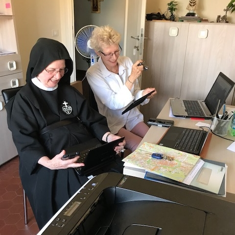 Sr. Mary Agnes & Jane hard at work!