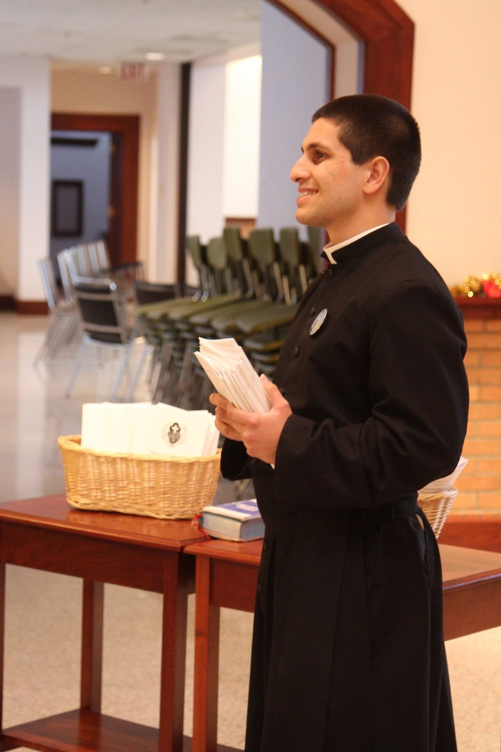 Br. Justin Pybus, CPM assisted with seating guests in Chapel for the Mass.