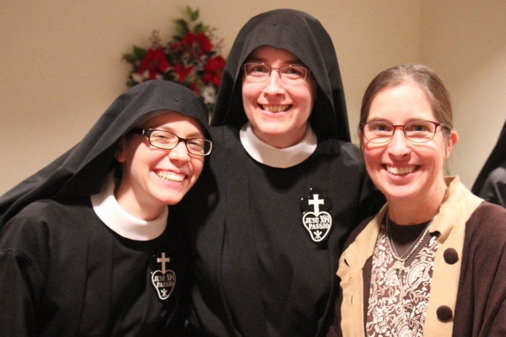 Sr. Maria Faustina, Mother John Mary, and Bridget Adams in the parlor - Bridget is a friend of Sr. Cecilia Maria from her days at Assumption parish in Bellingham, WA