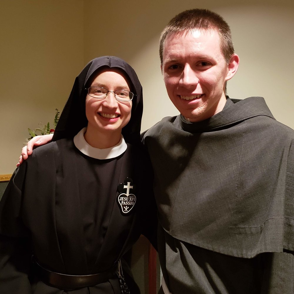 Sr. Cecilia Maria with Friar Emmanuel (brother of our Sr. Frances Marie and MC at the Profession Mass)