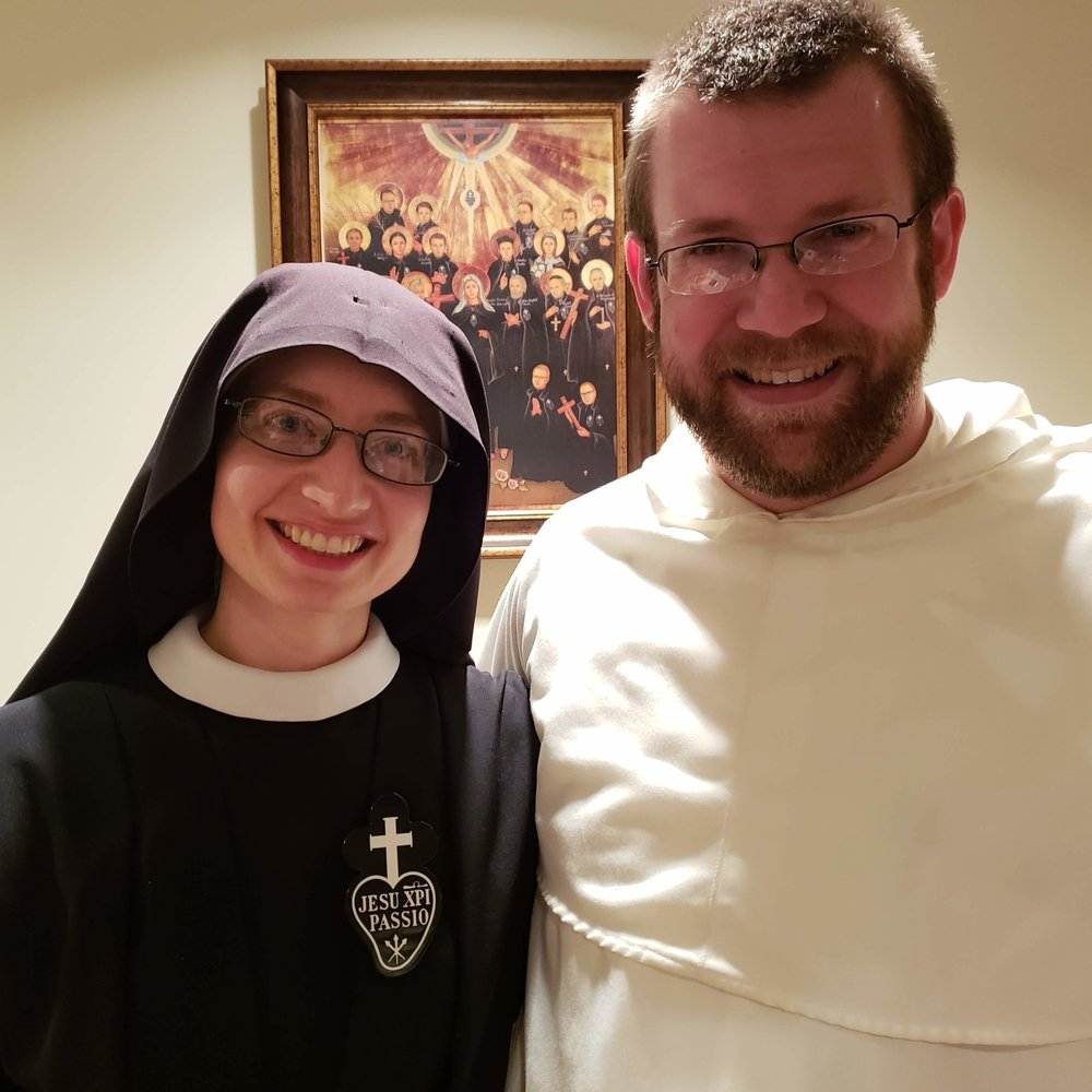 Sr. Cecilia Maria with Fr. Vincent Ferrer, her long-time friend and our guest homilist/organist at the Profession Mass