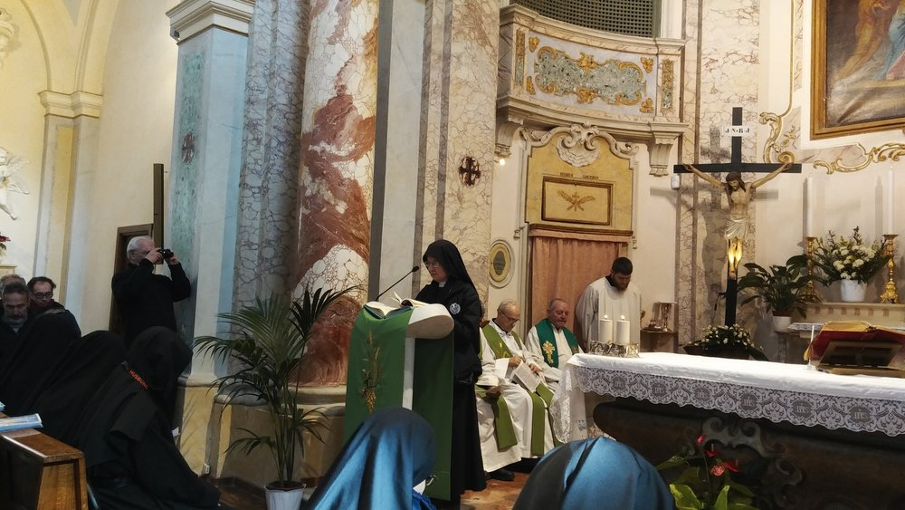 Our own Sr. Mary Veronica was honored to read during Mass at St. Joseph Retreat on Monte Argentario, the former Novitiate for Passionist men established by St. Paul of the Cross.