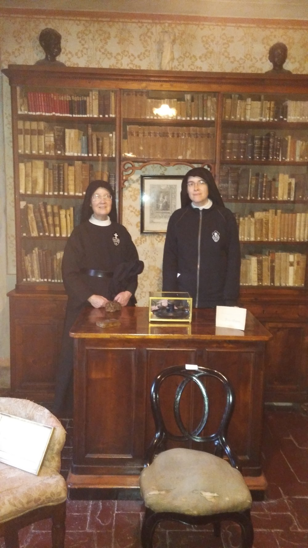 Sr. Mary Veronica and Mother John Mary visited the Giannini house in Lucca, where St. Gemma lived for several years before her death.  This is the desk at which she would write letters.