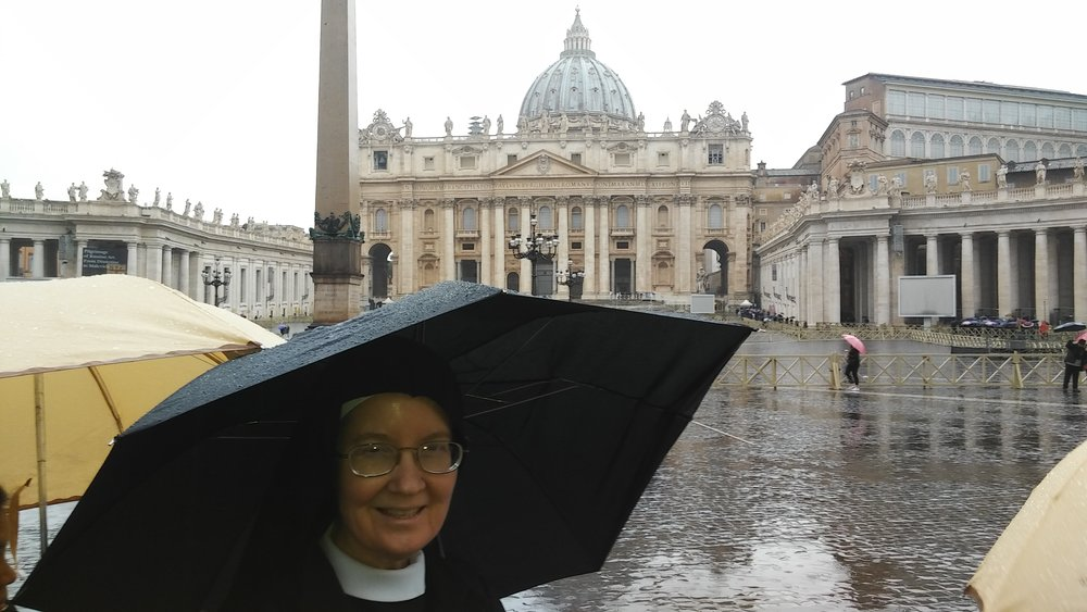 Sr. Mary Veronica in front of St. Peter's at long last!