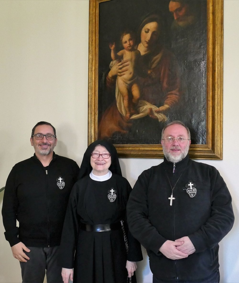 P. Marco, Mother Catherine Marie, and P. Giovanni.  These two priests reside at the Monastero e Santuario di Santa Gemma in Lucca, and are an invaluable aid to the community there!