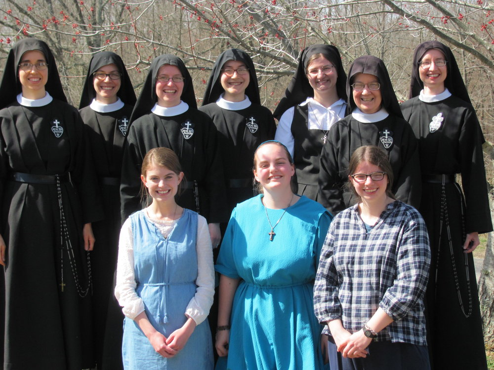 Some of the Nuns with the March Vocation Retreat participants, Ann, Abbey, and Laura.