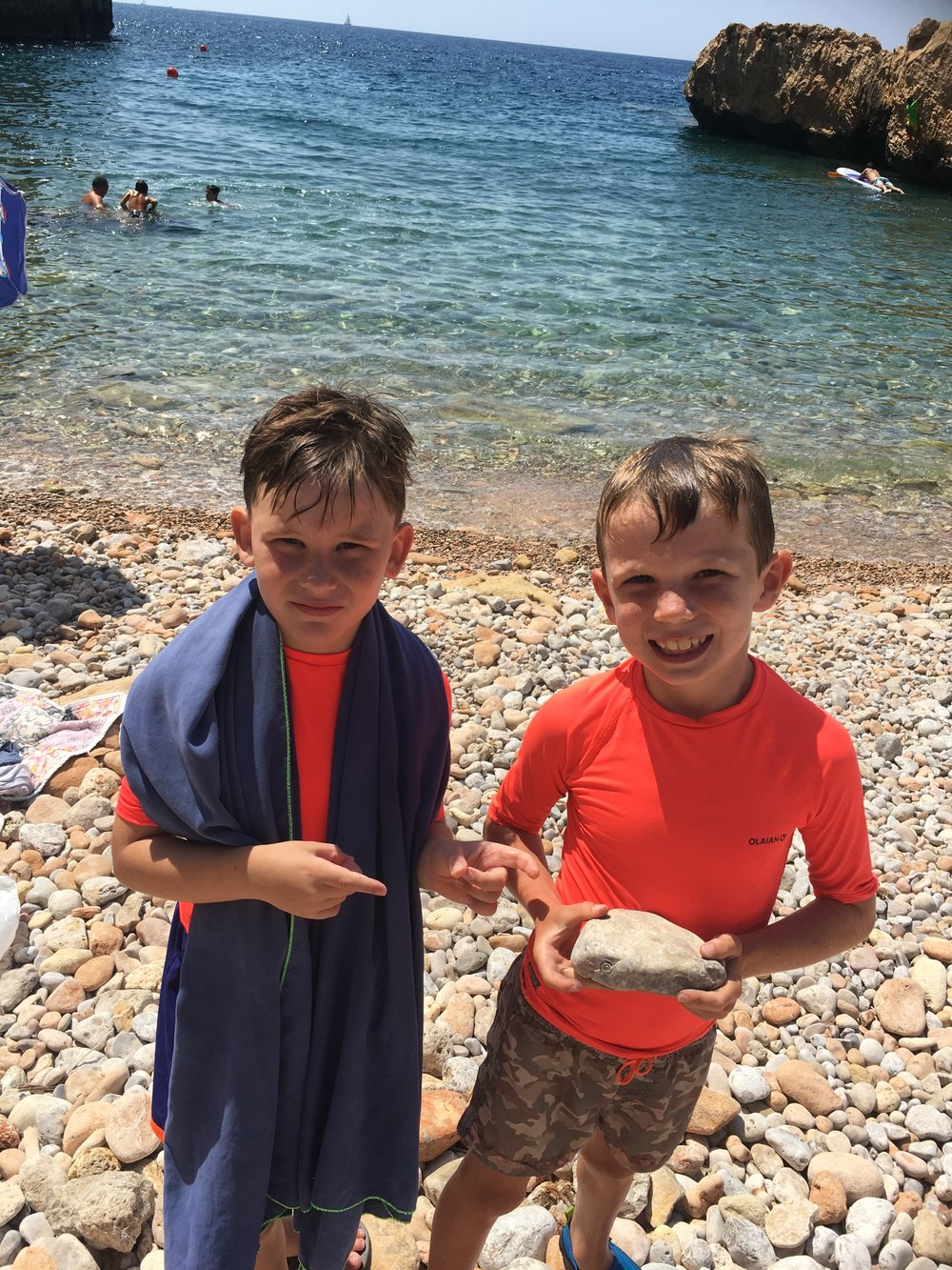 Here Dillon and Xander found a rock with a fossil. He took that home of course!